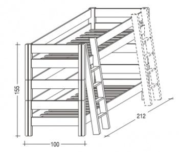 Gazel Sendy etážová postel 90 x 200 cm palanda varianty