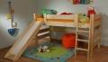 Gazel Sendy postel 90 x 200 cm zvýšená 120 cm se skluzavkou přírodní